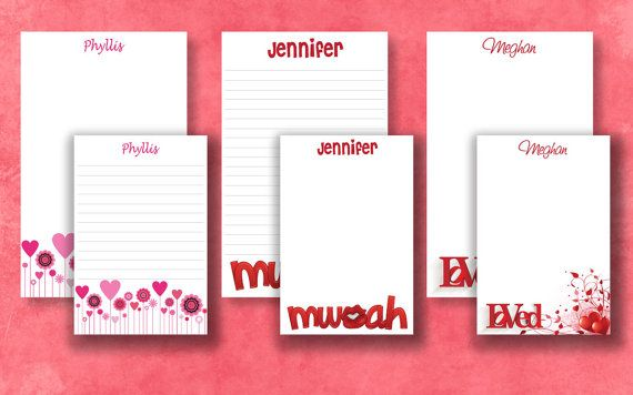Valentine's Personalized Notepad Gift Set for just $15. Includes ribbon and Valentine's card  by SimplySassyPaper