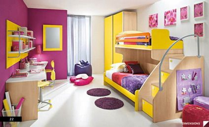 Girls Bedroom With Bunk Beds bold pink and white decor with double bunk beds in teenage girls