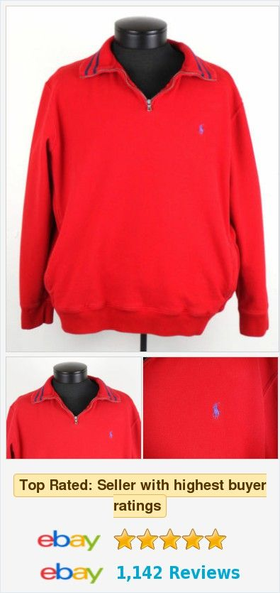 Polo Ralph Lauren Half Zip Pullover Sweater Womens Large L Red ...