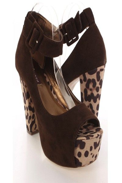 A fresh spin on a classic shape. These pumps will be a fun addition to your shoe wardrobe! They will look super hot paired with your favorite skinnies or dress. So make sure you add these to your closet, it definitely is a must have! It features faux suede, peep toe, chunky heel, ankle buckle strap, animal print, smooth lining, stitched detailing, and cushioned footbed. Approximately 5 inch heel and 2 inch platform.