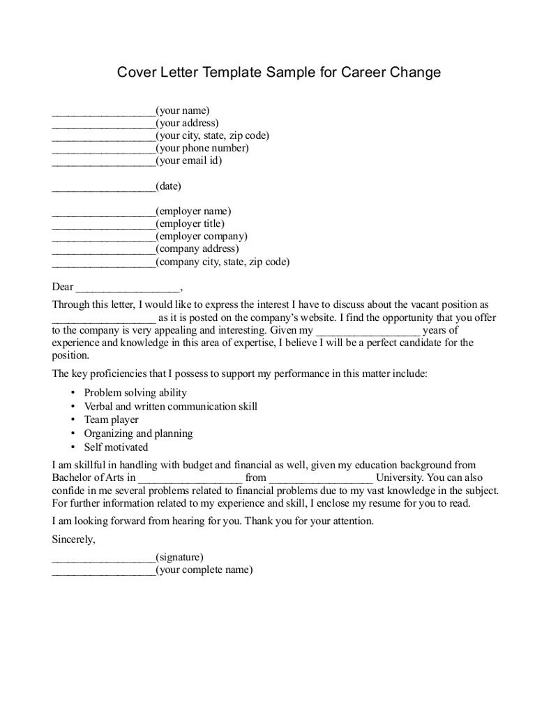 Cover Letter Template Career Change | 1-Cover Letter Template ...