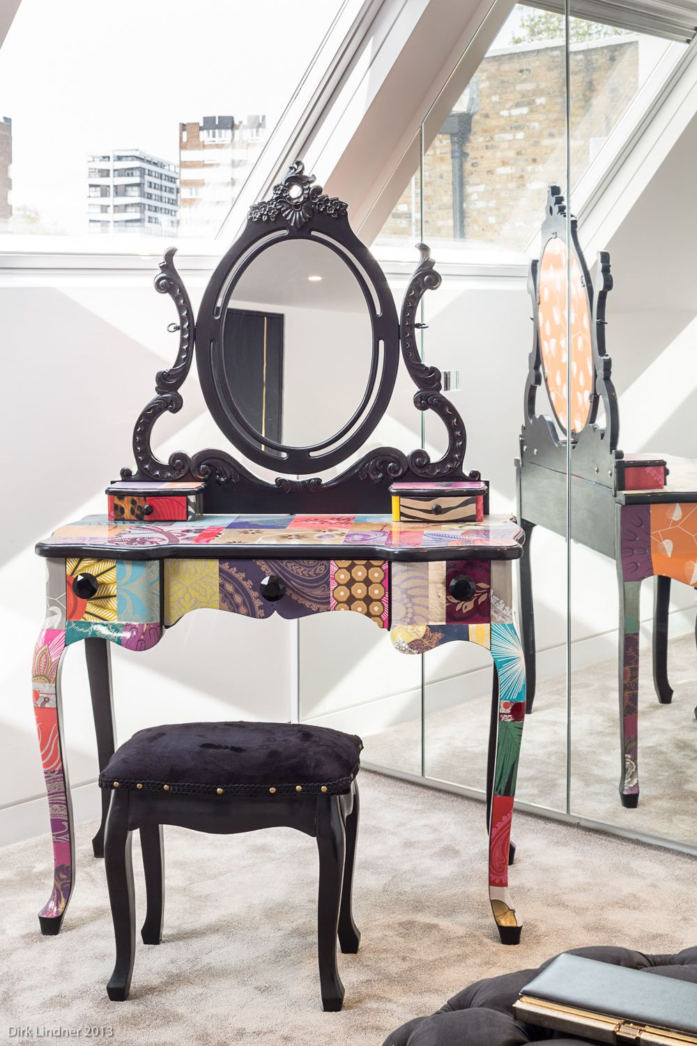 1500 Dressing table papered patchwork colourful unique design