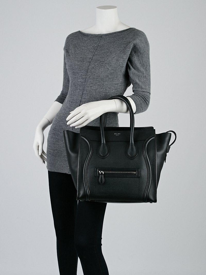 79891775f318 Celine Black Drummed Leather Mini Luggage Tote Bag
