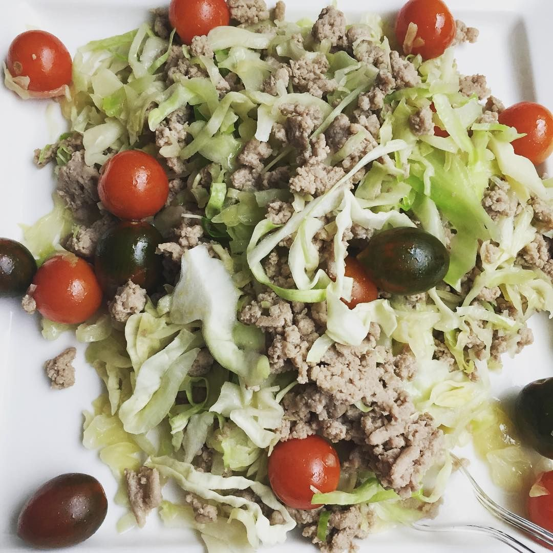 """""""I'm not much for cooking but I'm totally down for assembling. Ground turkey + shredded cabbage + tomatoes while I do some work and watch some #football…"""""""