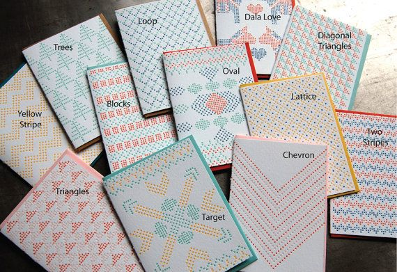 Cross stitch letterpress cards