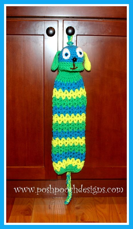 Puppy Plastic Bag Holder By Sara Sach - Free Crochet Pattern - (ravelry) voor je plastic tasjes op te bergen !