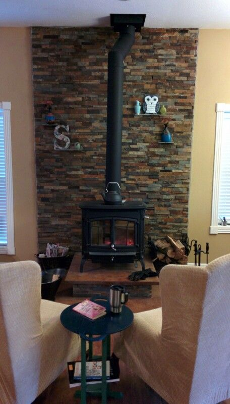 Wood Stove Stacked Ledge Stone Wall With Slate Shelves Bennington