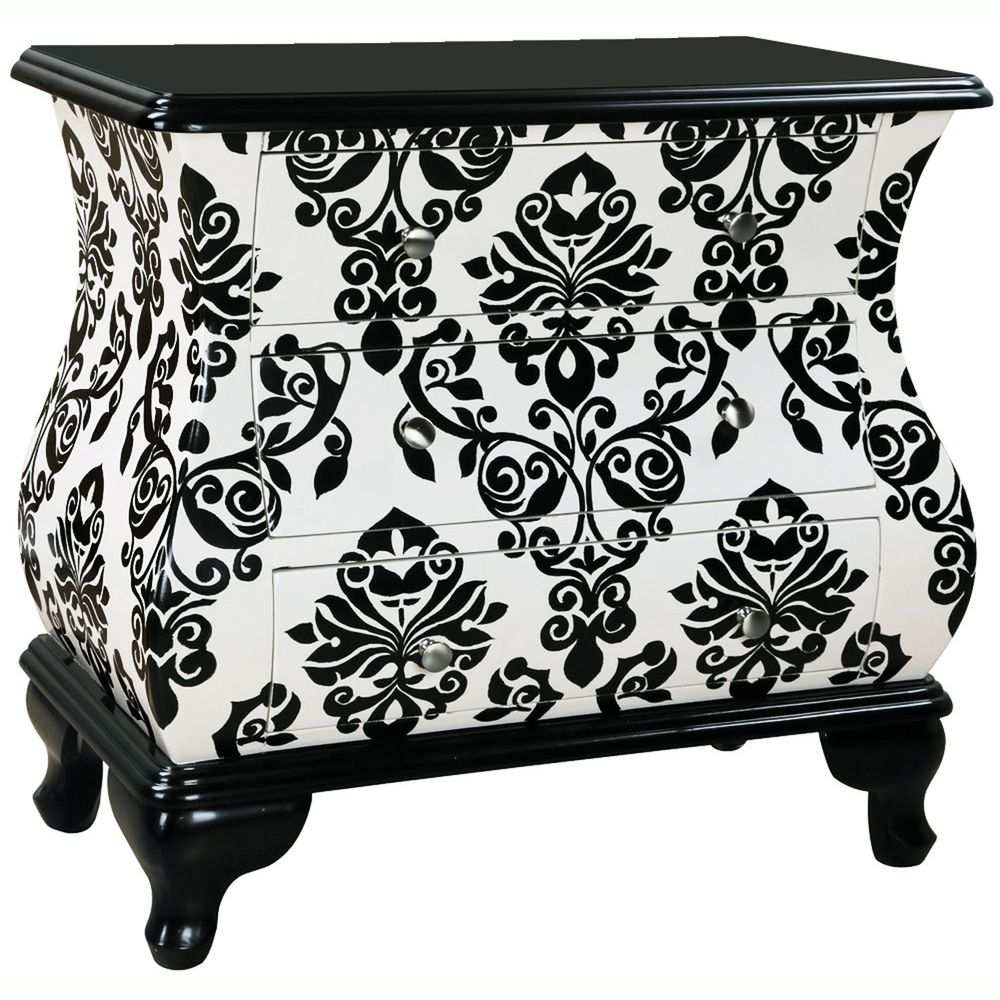 Hand Painted Distressed Black And White Finish Ay Accent Chest