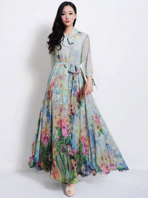 Light Blue 3/4 Sleeve Dress