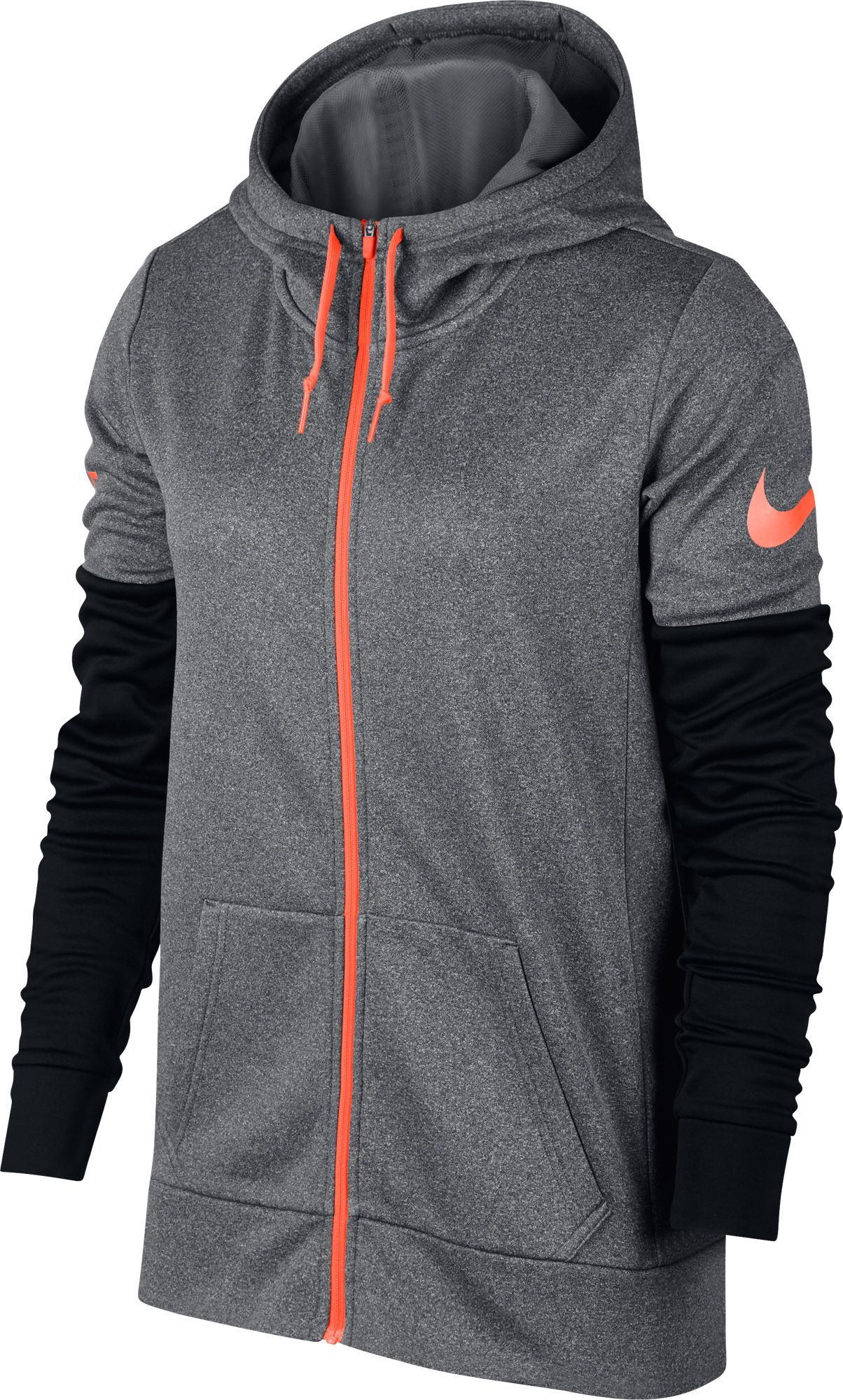 fd9277d3db3b Nike Women s Therma Just Do It Full Zip Training Hoodie (Dark  Gray Heather Black Hyper Crimson