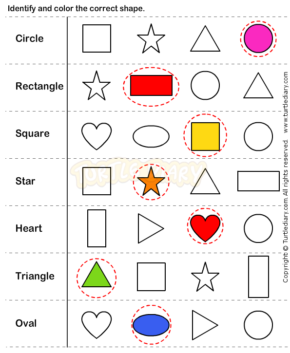 Identify and colour the correct shape. Sorting, colours ...