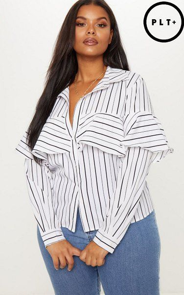 4ee2e04343d PrettyLittleThing striped ruffle sleeve shirt.  prettylittlething  plussize   plussizefashion