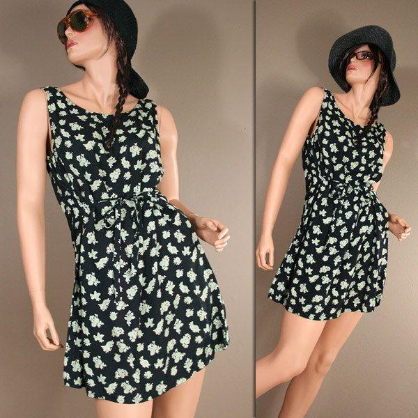 SALE Vintage 90s Black Floral Grunge Tent Convertible SUMMER Dress Rayon Mini Dress. $21.00, via Etsy.