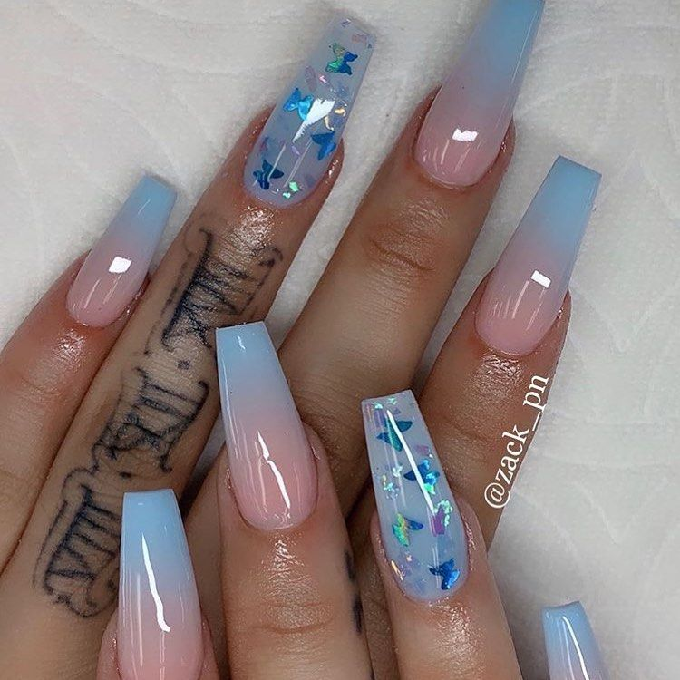 Blue Butterfly Nails Nailinspo Blue Ombre Blueombre Butterflies In 2020 Cute Acrylic Nail Designs Coffin Nails Designs Cute Acrylic Nails