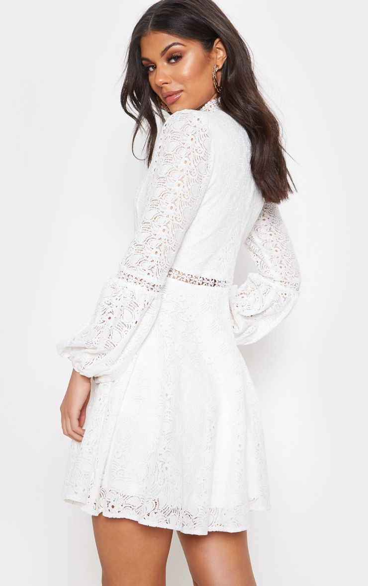 White Lace Long Sleeve Skater Dress Long Sleeve Skater Dress White Long Sleeve Dress Lace Dress With Sleeves [ 1180 x 740 Pixel ]