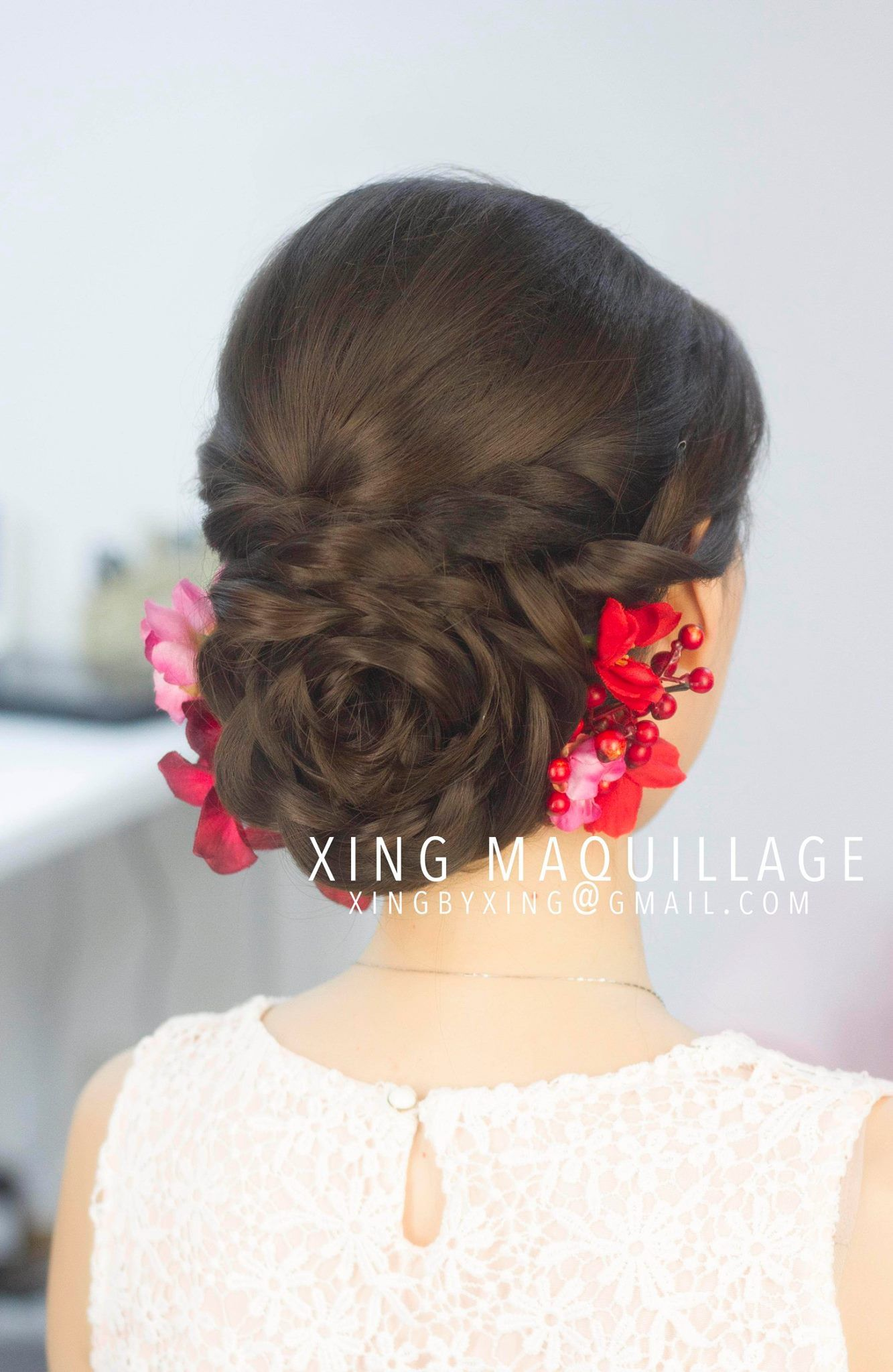 Braids up do bun Asian wedding hair Chinese Hair