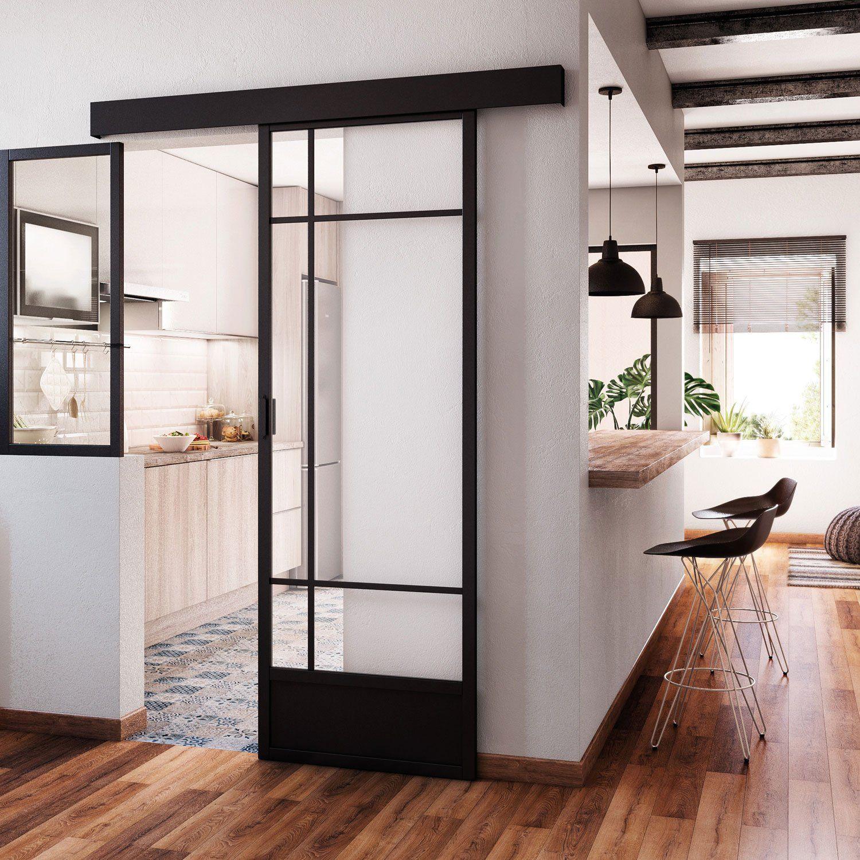 Portes Coulissantes Vitrées Intérieures porte coulissante vitrée / noir emma artens, h.204 x l.83 cm