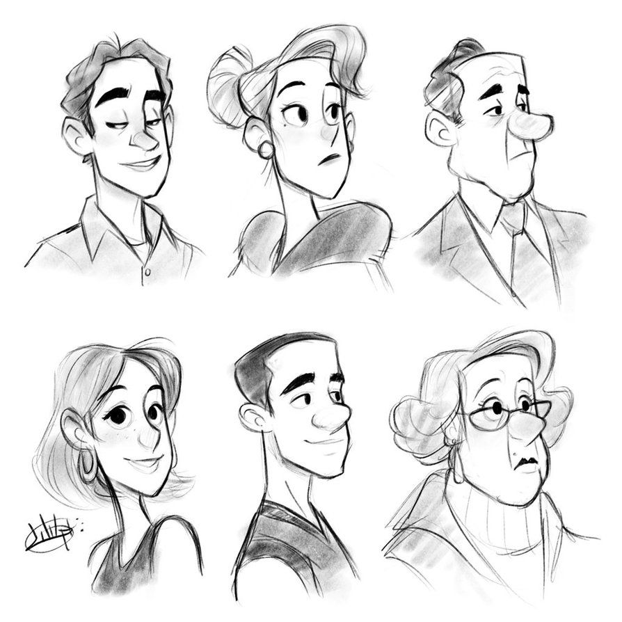 One Shape Procreate Sketches by LuigiL Cartoon drawings