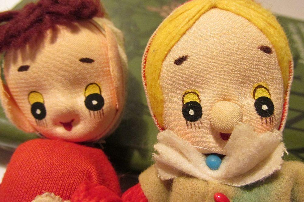 Vintage Pixie/Elf Cloth/Nylon Face Felt/Cotton Clothes Dolls Ornaments - Japan