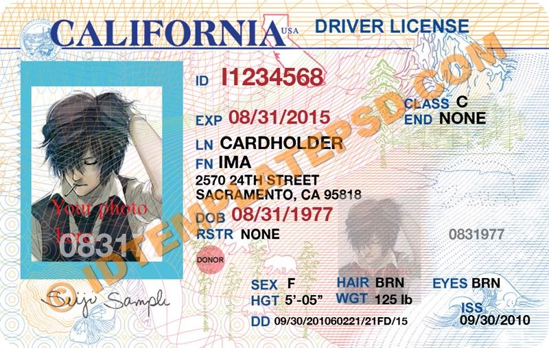 This is California (USA State) Drivers License PSD