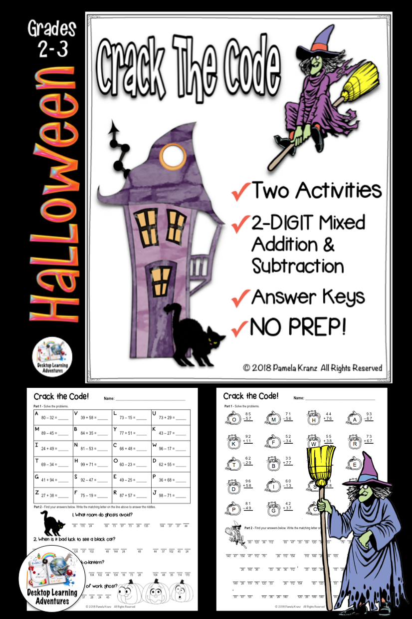 Halloween Math Activity - 2-Digit Addition & Subtraction Crack the