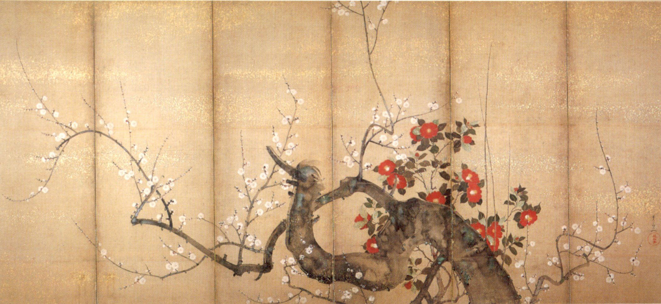 Color in japanese art - Flowering Plum And Camellia Six Fold Screen Suzuki_kiitsu 1850s Art Japanese Screens Pinterest Ink Color The Winter And Japanese Art