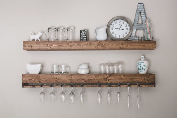 Floating Shelves with Wine Glass, Wine Rack Shelf, Rustic Wine Rack