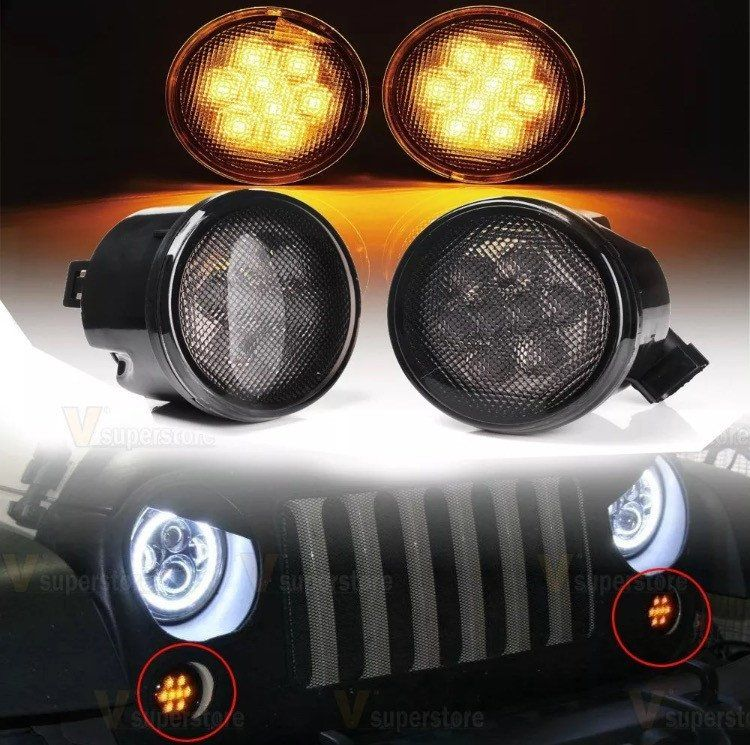 Pair Amber LED Turn Signal Lights Smoke Lens Front Grill For Jeep Wrangler 07-15