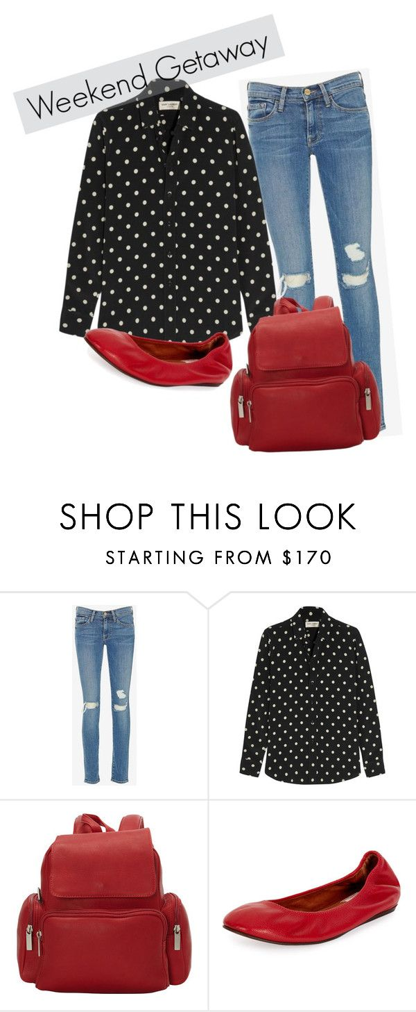 """Al rojo vivo"" by romaosorno ❤ liked on Polyvore featuring Frame Denim, Yves Saint Laurent, Le Donne and Lanvin"