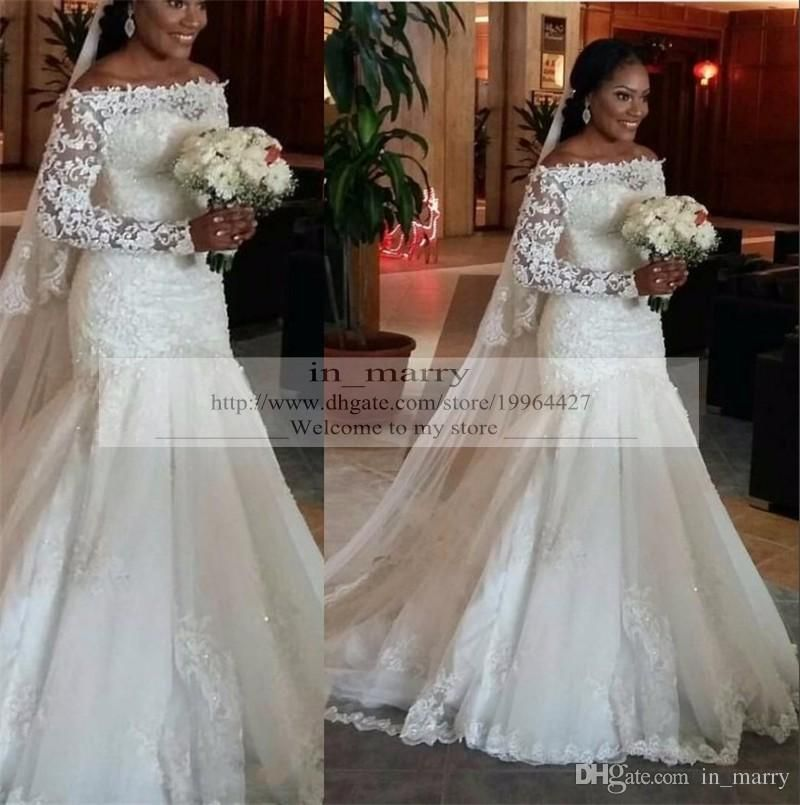 2016 Full Lace Long Sleeves Wedding Dresses Bateau Mermaid Arabic Muslim Nigeria Sequin Lace
