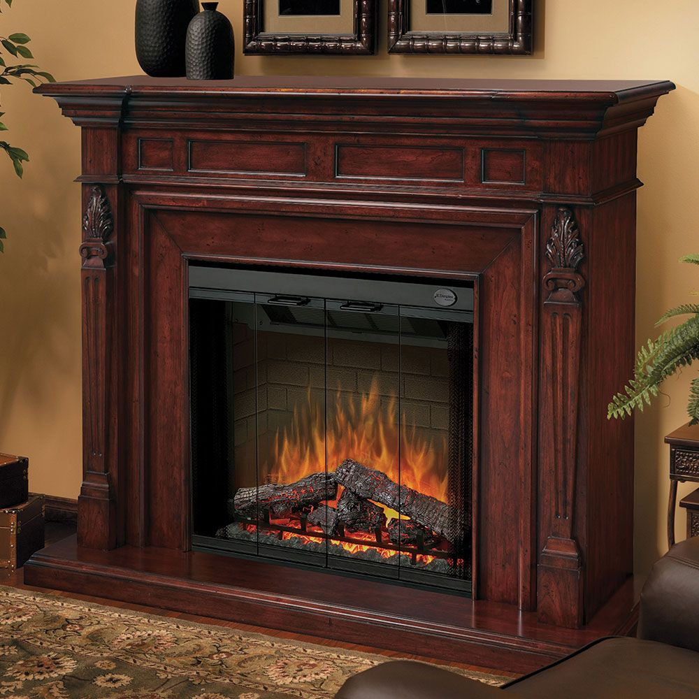 Torchiere burnished walnut electric fireplace mantel package sep