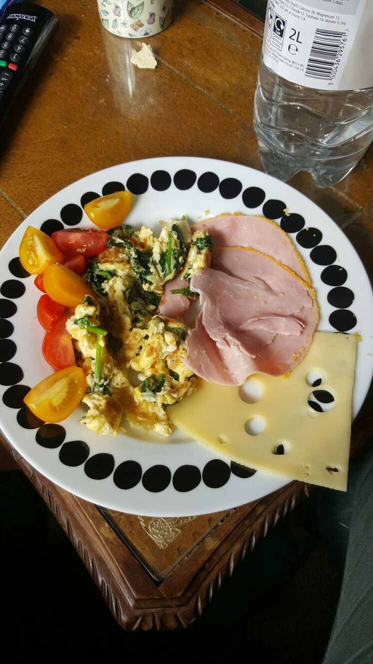 Ham cheese omelette and mixed tomatoes scrambled eggs