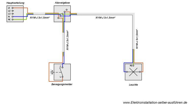 Schaltplan eines Bewegungsmelders ohne Neutralleiter mit einer Lampe ...