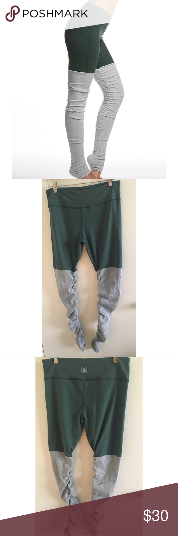 5f29c932ea Namastetics fusion leggings – Compression fitted – Tummy-cinching waistband  – Figure flattering seams – Ribbed contrast leg warmers Color is evergreen.