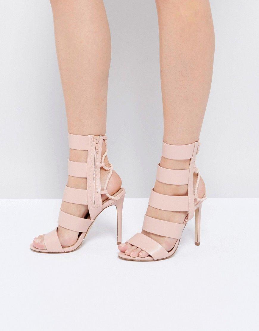 5b78b2a0dd ALDO Hawaii Pink Lace Back Heeled Strappy Sandals - Pink
