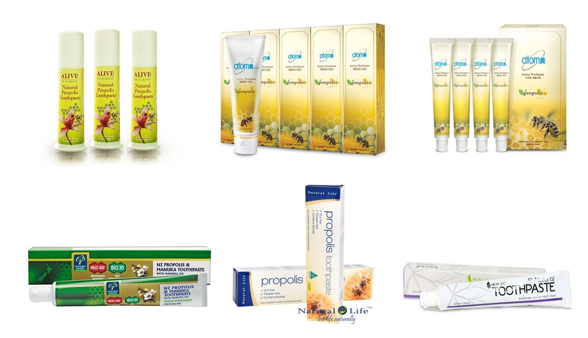 showing 6 types of Malaysia Propolis Toothpaste