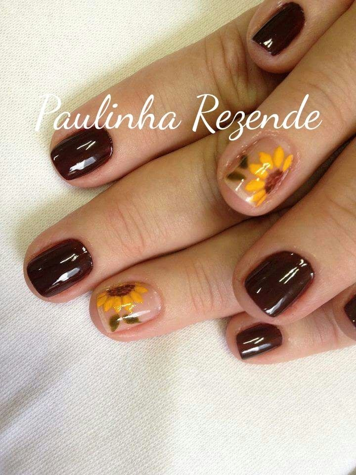 Pin By Tracey Beasley On Nails Sunflower Nails Fall Nail Art Designs Brown Nails