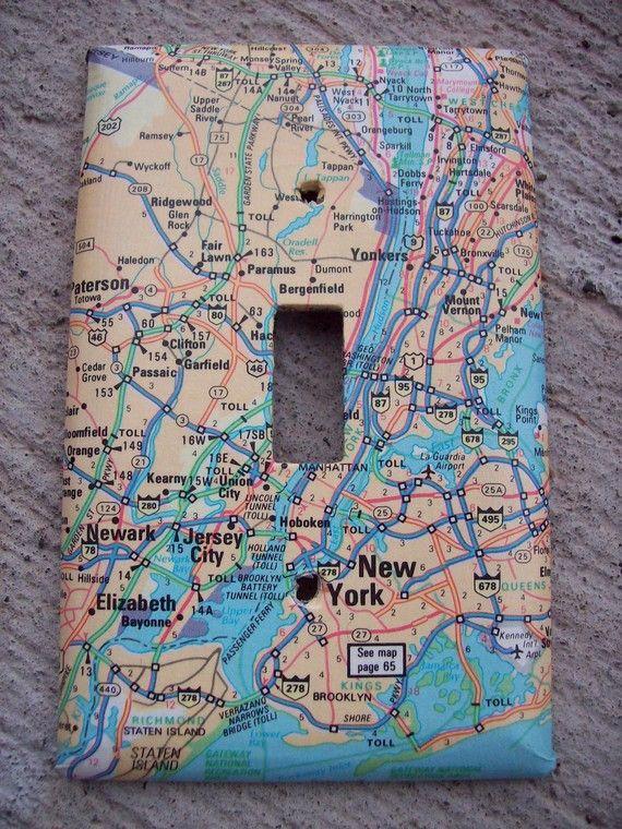 New York City Newark New Jersey Road Map Light Switchplate ...