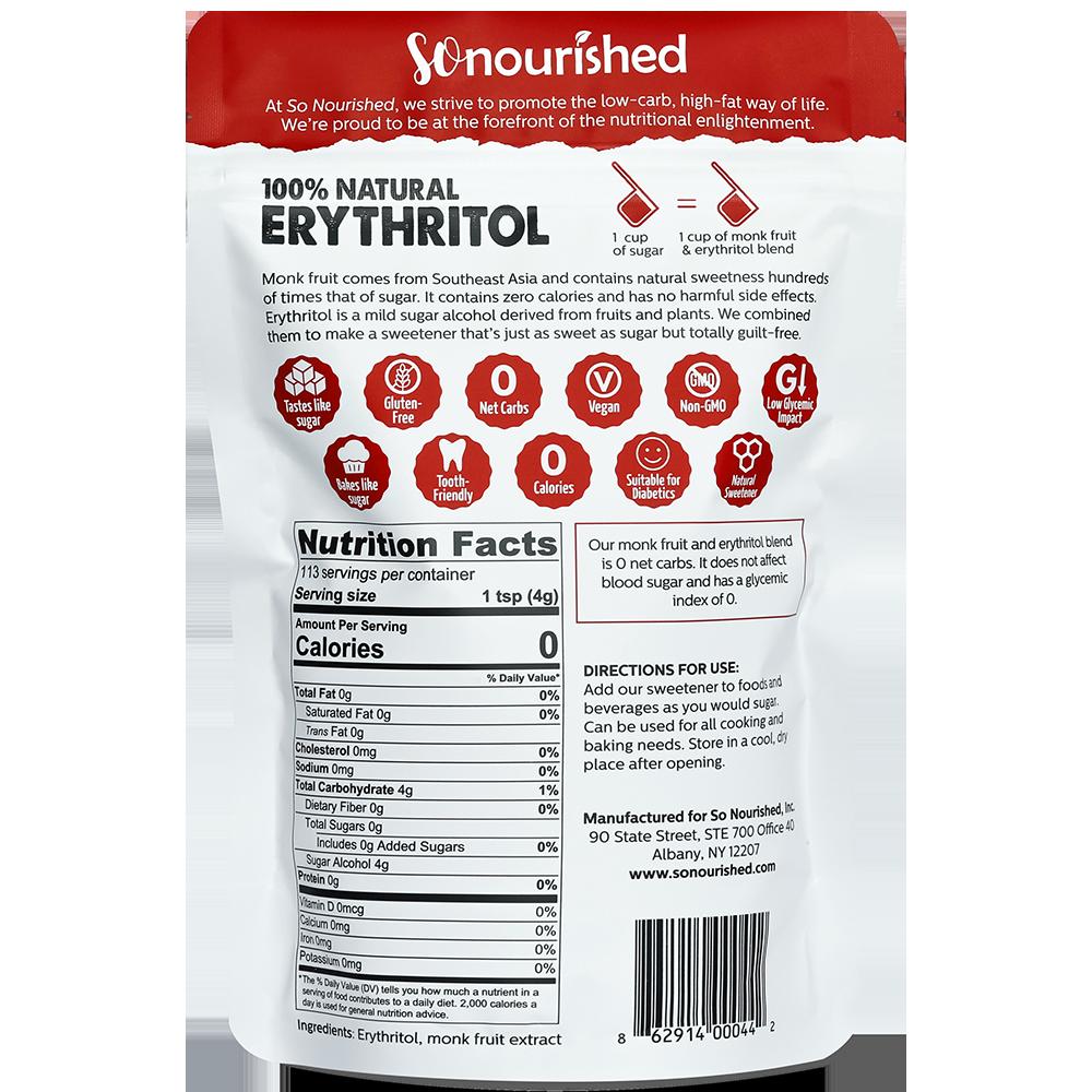 Granular Monk Fruit Erythritol Sweetener So Nourished Erythritol Alternative Sweeteners Fruit