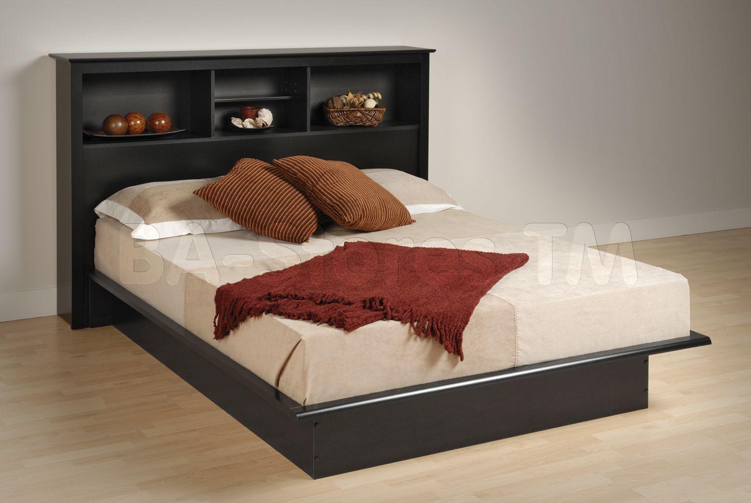Beds Prepac Black Platform Bed With Bookcase Headboard Bbd 5475