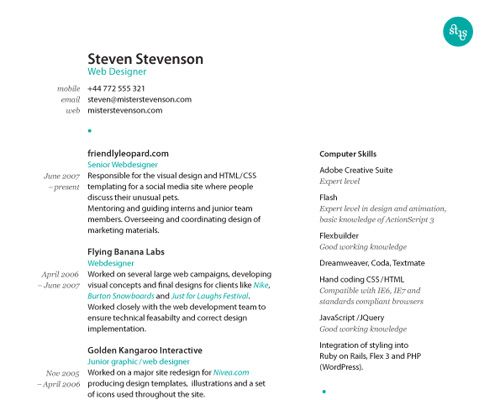 how to create a great web designer résumé and cv resume layout