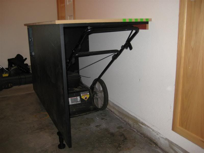 Lawnmower Under Workbench 2 Car Tandem Garage Cabinet
