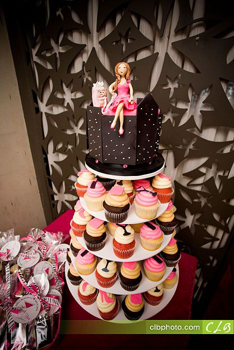 sex and the city themed bridal shower cupcake tower