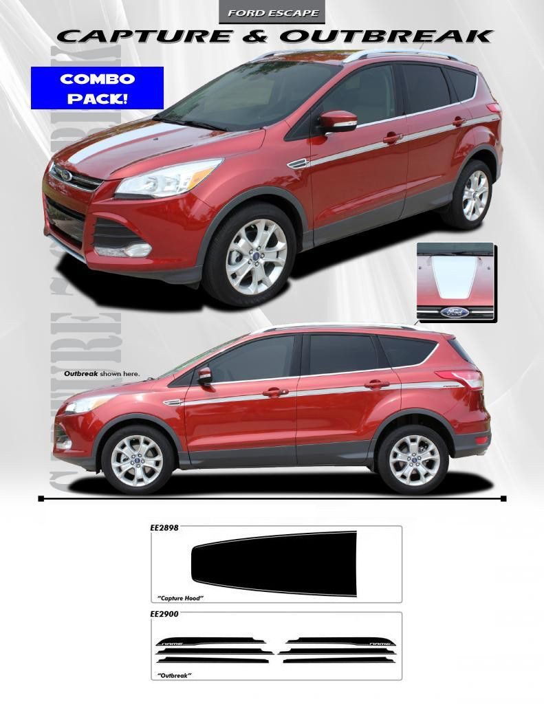 2013 Up Ford Escape Graphics Combo Pack Capture Hood Outbreak Side Detail Custom Vinyl Accents Stripes Kit 3m Ford Escape Car Vinyl Graphics Custom Vinyl