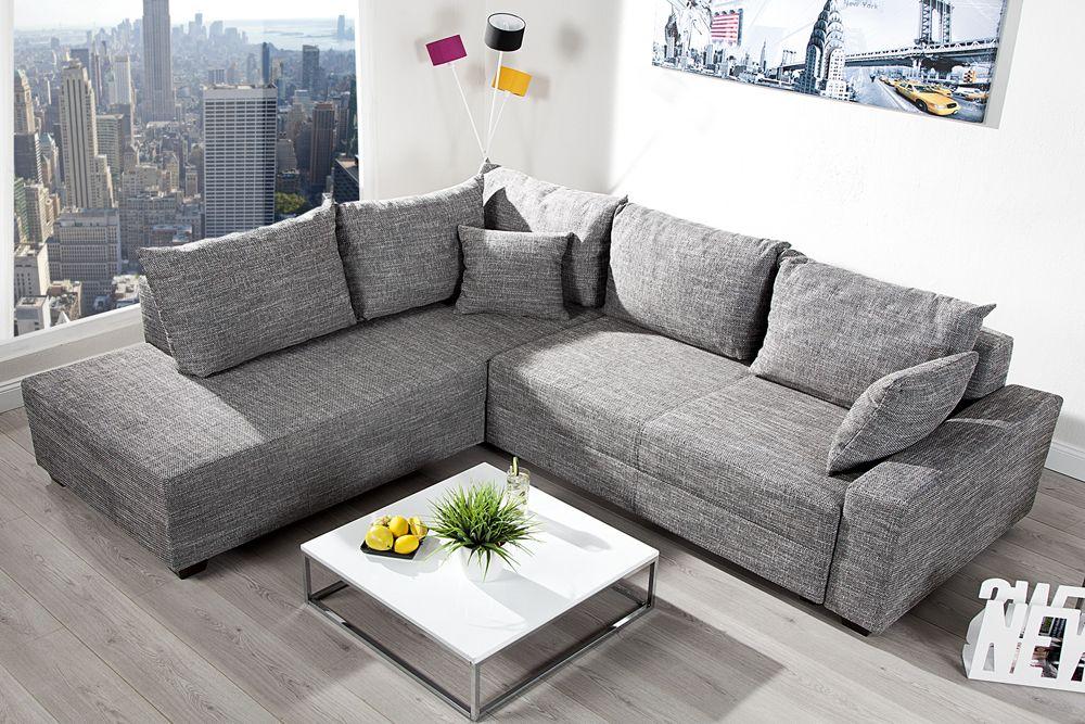 Design Ecksofa Apartment Strukturstoff Graphit Federkern Sofa Schlaffunktion Riess Ambiente Onlineshop Federkern Sofa Sofa Mit Schlaffunktion Sofa