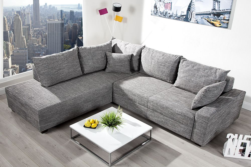 design ecksofa apartment strukturstoff graphit federkern. Black Bedroom Furniture Sets. Home Design Ideas