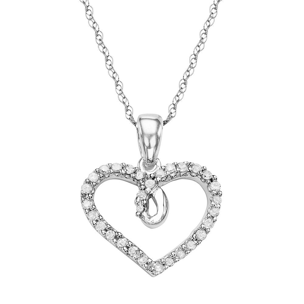 K white gold carat tw diamond heart pendant womenus size