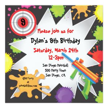 super fun paintball birthday invitation with colorful paintball, Birthday invitations