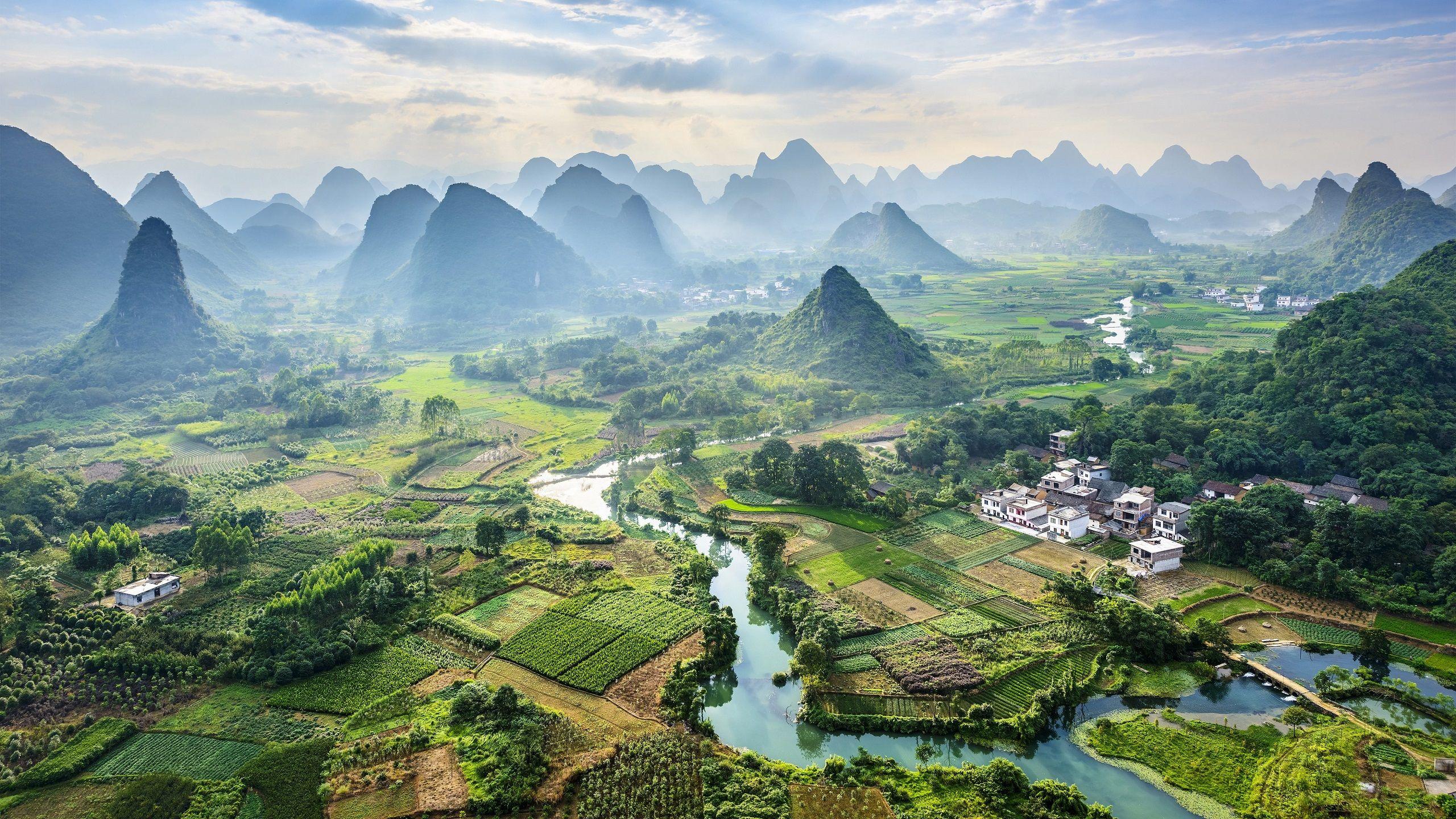 #landscape#nature#China#village#Asia#hill#hills#river#field#aerialview