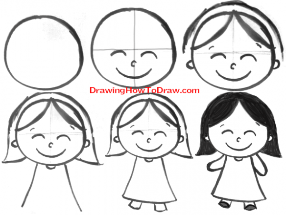 20+ New For Cartoon Easy Step By Step Girl Drawing